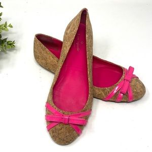 Kate Spade Bright Pink Cork Bow Ballet Flats